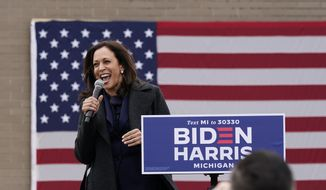 Democratic vice presidential candidate Sen. Kamala Harris, D-Calif., speaks during a campaign event, Sunday, Oct. 25, 2020, in Detroit. (AP Photo/Carlos Osorio)