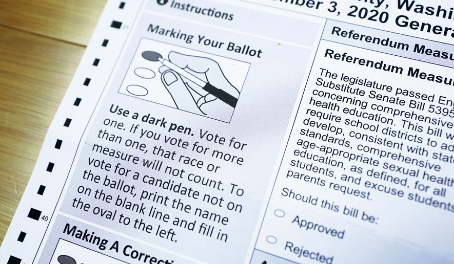 A portion of a Washington state mail-in ballot is shown with instructions for marking voter choices, Monday, Oct. 26, 2020, in Olympia, Wash. (AP Photo/Ted S. Warren)