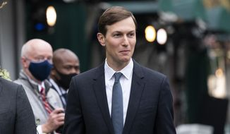 White House senior adviser Jared Kushner walks back to the West Wing after a television interview at the White House, Monday, Oct. 26, 2020, in Washington. (AP Photo/Alex Brandon) ** FILE **