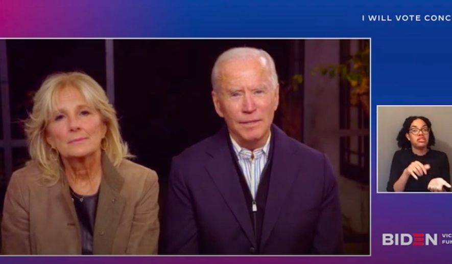 Democratic presidential nominee Joe Biden appeared to briefly confuse President Trump with former President George W. Bush during a virtual campaign event Sunday. (Screenshot via YouTube/@Kamala Harris)