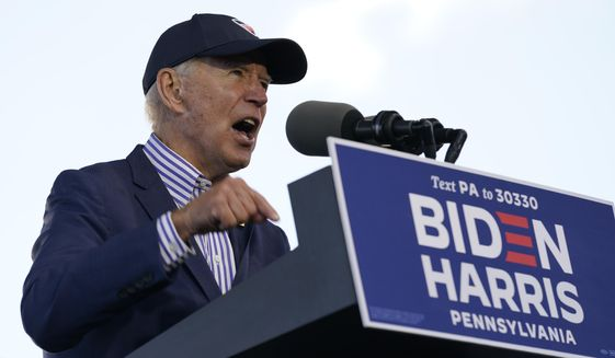 Democratic presidential candidate former Vice President Joe Biden speaks at a campaign event at Dallas High School in Dallas, Pa., Saturday, Oct. 24, 2020. (AP Photo/Andrew Harnik)