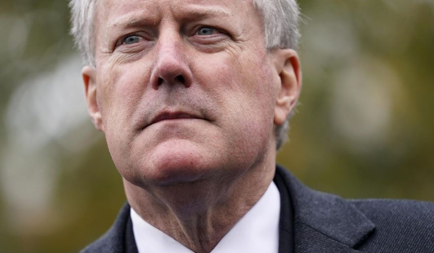 White House chief of staff Mark Meadows speaks with reporters outside the White House, Monday, Oct. 26, 2020, in Washington. (AP Photo/Patrick Semansky)