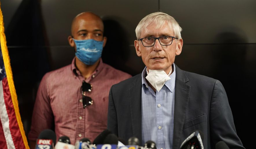 In this Aug. 27, 2020, file photo, Wisconsin Gov. Tony Evers speaks during a news conference in Kenosha, Wis. An effort to gather enough signatures to force a recall election of Evers has failed, the recall's organizer told supporters on Monday, Oct. 26, 2020. (AP Photo/Morry Gash, File)