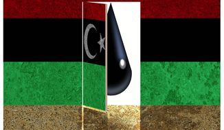 Illustration on hope for Libyan oil by Alexander Hunter/The Washington Times