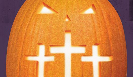 Illustration on Halloween and Christianity by Linas Garsys/The Washington Times