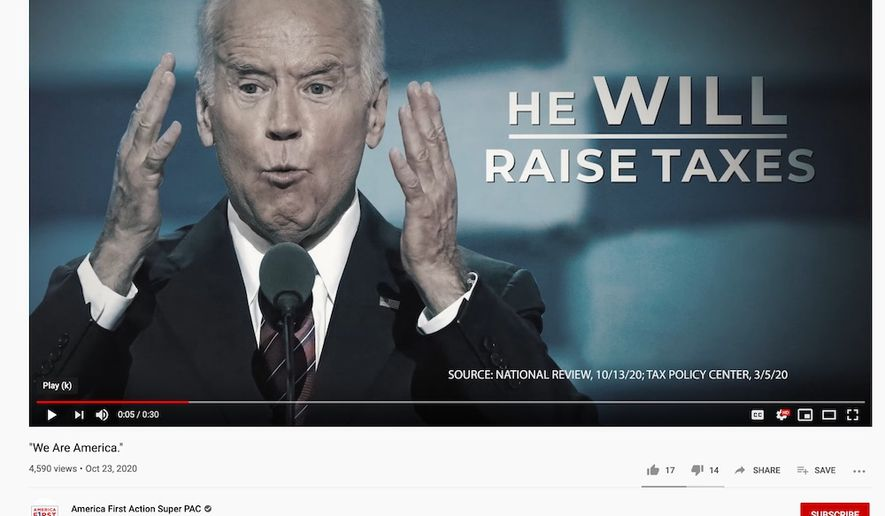 "A new ad by America First Action says Joseph R. Biden will raise taxes on the middle class if elected president. The spot was denied an airing on CNN after ""fact-checkers"" deemed it beneath ""clearance standards."" (Image: YouTube, America First Action, video screenshot)"