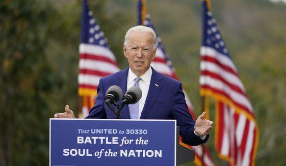 Democratic presidential candidate former Vice President Joe Biden speaks at Mountain Top Inn & Resort, Tuesday, Oct. 27, 2020, in Warm Springs, Ga. (AP Photo/Andrew Harnik)