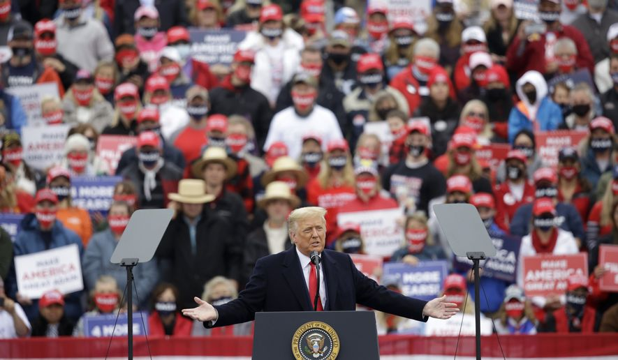 President Donald Trump speaks at a campaign rally at Lancaster Airport, Monday, Oct. 26, 2020 in Lititz, Pa. (AP Photo/Jacqueline Larma)