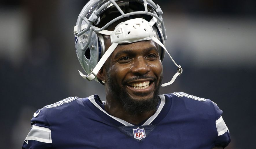 FILE - In this Nov. 23, 2017, file photo, Dallas Cowboys' Dez Bryant warms up before an NFL football game against the Los Angeles Chargers in Arlington, Texas. Former Cowboys receiver Dez Bryant is one step closer to playing in the NFL again. The 31-year-old Bryant signed with the Baltimore Ravens on Tuesday, Oct. 27, 2020 and has been assigned to the practice squad. (AP Photo/Ron Jenkins, File)