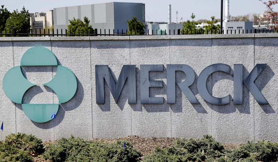 This May 1, 2018, file photo shows Merck corporate headquarters in Kenilworth, N.J. The pharmaceutical giant has teamed up with HHS and the Department of Defense to scale up manufacturing of its therapeutic to treat critical COVID-19 patients. (AP Photo/Seth Wenig, File)  **FILE**