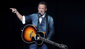 """Bruce Springsteen performs at the 12th annual Stand Up For Heroes benefit concert at the Hulu Theater at Madison Square Garden in New York, Nov. 5, 2018. In 2016, Springsteen objected to Presidential candidate Donald Trump blasting """"Born in the U.S.A."""" as a patriotic anthem, when it's actually a scathing indictment of the treatment of Vietnam vets. (Photo by Brad Barket/Invision/AP) ** FILE **"""