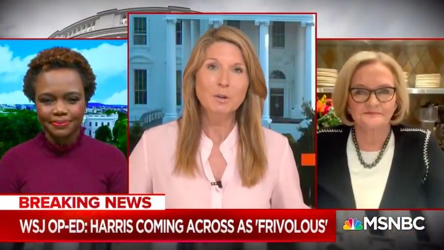 """MSNBC host Nicolle Wallace said Monday, Oct. 26, 2020, that The Wall Street Journal's Peggy Noonan's recent piece criticizing Democratic vice presidential nominee Kamala Harris came off as """"bitchy"""" and that conservative white women should keep their mouths shut on certain topics. (Screenshot via MSNBC)"""