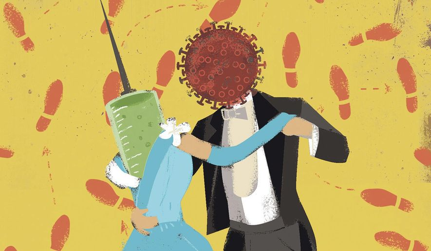 Illustration on development of a COVID vaccine by Linas Garsys/The Washington Times