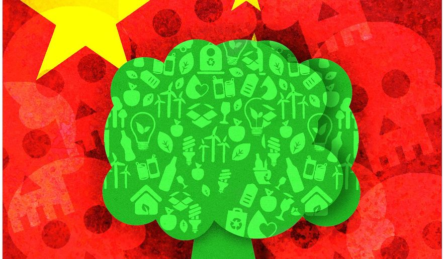 Illustration on China's green initiatives by Alexander Hunter/The Washington Times