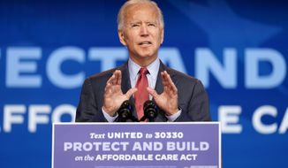 Democratic presidential candidate former Vice President Joe Biden speaks about the Coronavirus and health care at The Queen theater, Wednesday, Oct. 28, 2020, in Wilmington, Del. (AP Photo/Andrew Harnik)