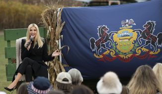 """Ivanka Trump, daughter and adviser to President Donald Trump, speaks during a """"Make America Great Again!"""" event with former White House press secretary Sarah Sanders on Wednesday, Oct. 28, 2020, outside Betsy's Barn at Cheeseman Farms in Portersville, Pa. (Emily Matthews/Pittsburgh Post-Gazette via AP)"""