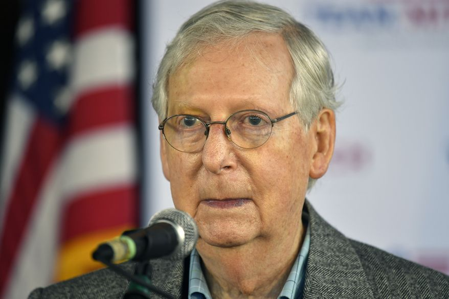 Senate Majority Leader Mitch McConnell, R-Ky., speaks to supporters at a campaign stop in Lawrenceburg, Ky., Wednesday, Oct. 28, 2020. (AP Photo/Timothy D. Easley)