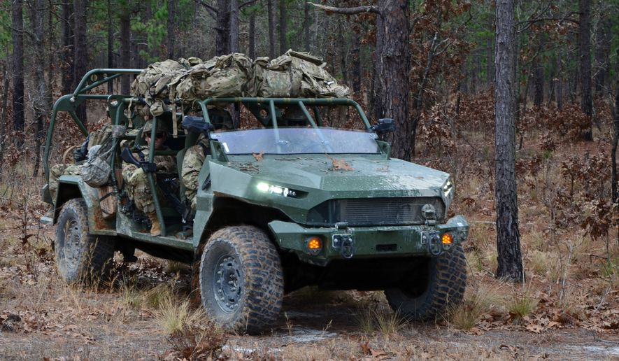 The 5,000-pound GM Defense Infantry Squad Vehicle was uniquely engineered to fulfill military requirements and designed to provide rapid ground mobility. The expeditionary ISV is light enough to be sling loaded from a UH-60 Blackhawk helicopter and compact enough to fit inside a CH-47 Chinook helicopter for air transportability. (Caption and image courtesy of GM Defense)