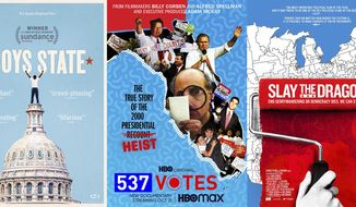 """This combination photo shows poster art for political documentaries, from left, """"All In: The Fight for Democracy,"""" """"Boys State,"""" """"537 Votes,""""   """"Slay the Dragon,"""" and """"The Fight.""""  The election has unleashed an avalanche of documentaries like no season before it. Dozens of films, exploring issues from gerrymandering to white supremacists, have sought to illuminate the many issues and trends voters are confronting at the polls on Tuesday. In a presidential election of enormous stakes, filmmakers have rushed to finish their films before Election Day. (Amazon, from left, Apple TV Plus, HBO Max, Magnolia Pictures, Magnolia Pictures via AP)"""
