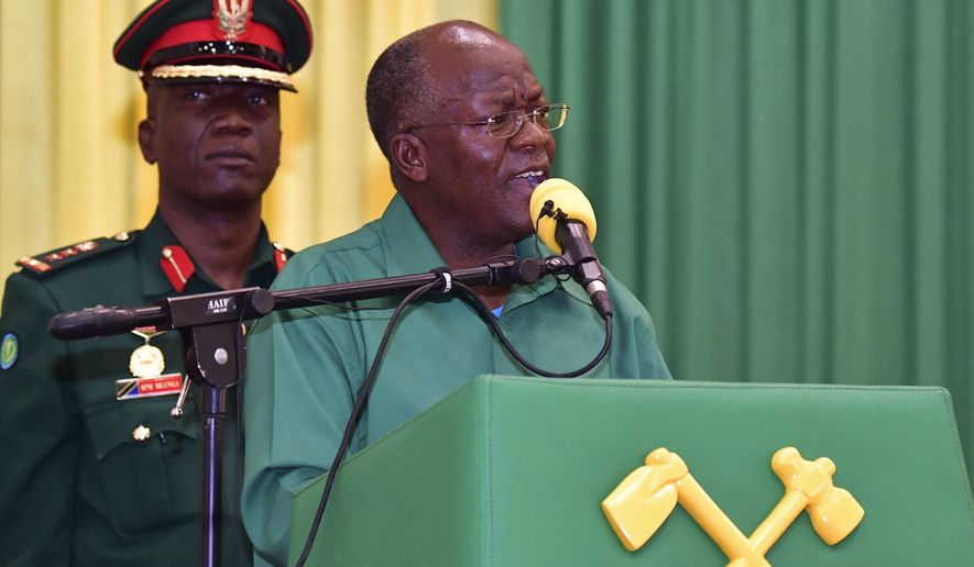 Tanzania ruling party CCM Presidential Candidate President John Magufuli addresses Dodoma region elders at the climax of his election campaign on Tuesday, Oct. 27, 2020. A major opposition party in Tanzania is accusing police of shooting dead at least nine citizens amid unrest over alleged fraud on the eve of the country's presidential election. (AP Photo)