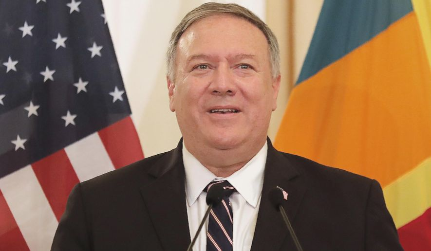 In this file photo, U.S. Secretary of State Mike Pompeo speaks during a joint press briefing with Sri Lankan Foreign Minister Dinesh Gunawardena in Colombo, Sri Lanka, Wednesday, Oct. 28, 2020.  (AP Photo/Eranga Jayawardena) **FILE**