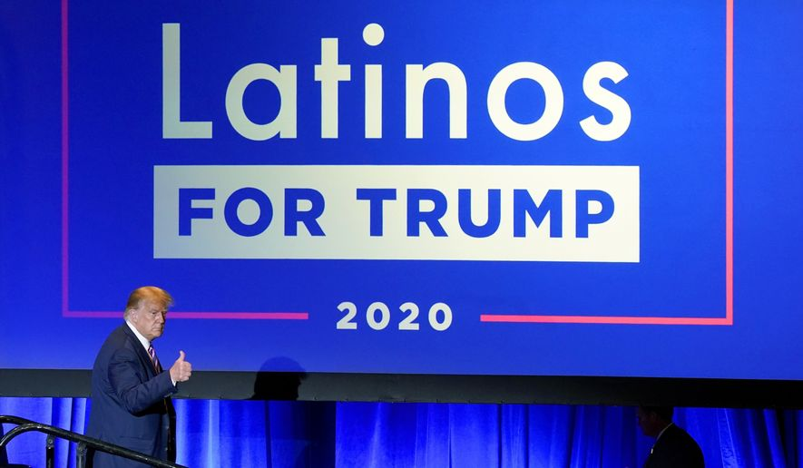 President Donald Trump give a thumbs up to the cheering crowd after a Latinos for Trump Coalition roundtable in Phoenix, Sept. 14, 2020. President Donald Trump is putting up a fight for Latino voters in key swing states with Democratic candidate Joe Biden. (AP Photo/Ross D. Franklin) ** FILE **