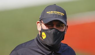 Washington Football Team head coach Ron Rivera is shown before an NFL football game against the Cleveland Browns, Sunday, Sept. 27, 2020, in Cleveland. (AP Photo/Ron Schwane)