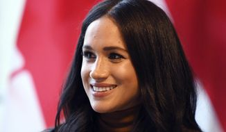 Meghan, Duchess of Sussex smiles during her visit with Prince Harry to Canada House, in London. (Daniel Leal-Olivas/Pool Photo via AP, file)