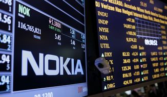 FILE - In this Tuesday, Sept. 3, 2013 file photo, The Nokia brand name is displayed on the floor of the New York Stock Exchange in New York. Telecom equipment maker Nokia has reported improved third-quarter earnings largely in line with expectations. But it acknowledges it faced challenges in the race for new generation 5G networks and pledged to invest more. The Espoo, Finland-based maker of new-generation 5G mobile and other networks said Thursday, Oct. 29, 2020 that its net profit for the July-September period was up 14% at 305 million euros ($358 million) (AP Photo/Seth Wenig, file)