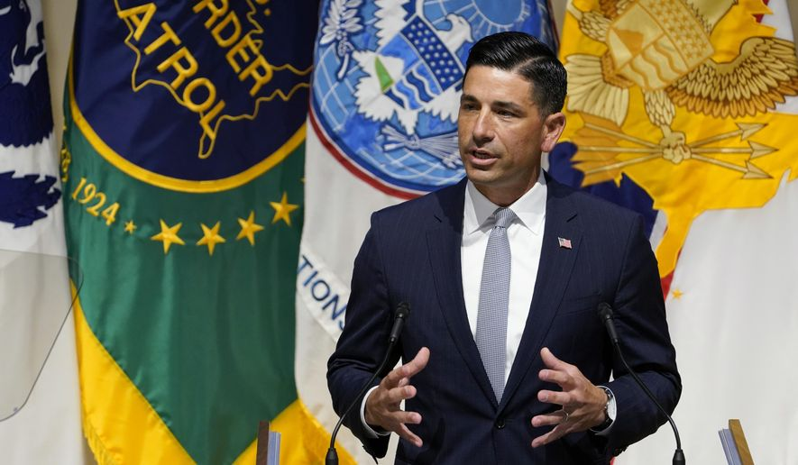 In this Sept. 9, 2020, file photo, acting Homeland Security Secretary Chad Wolf speaks during an event at DHS headquarters in Washington.  (AP Photo/Susan Walsh, File)  **FILE**