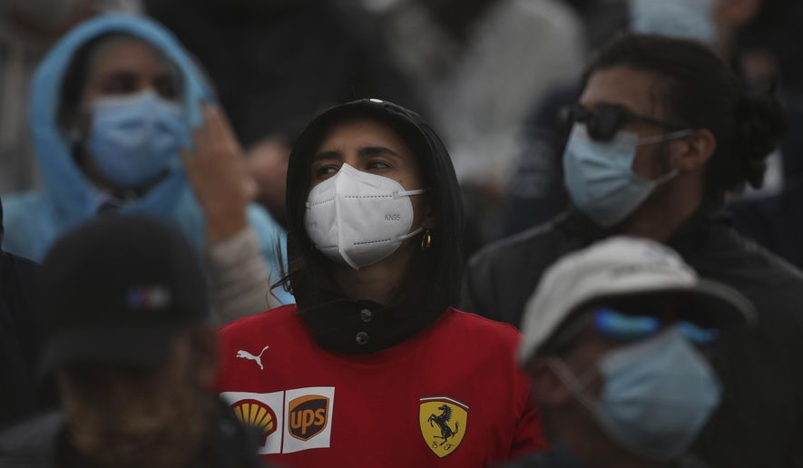 Fans wearing protective face masks watch the Formula One Portuguese Grand Prix at the Algarve International Circuit in Portimao, Portugal, Sunday, Oct. 25, 2020. (Jose Sena Goulao, Pool via AP)