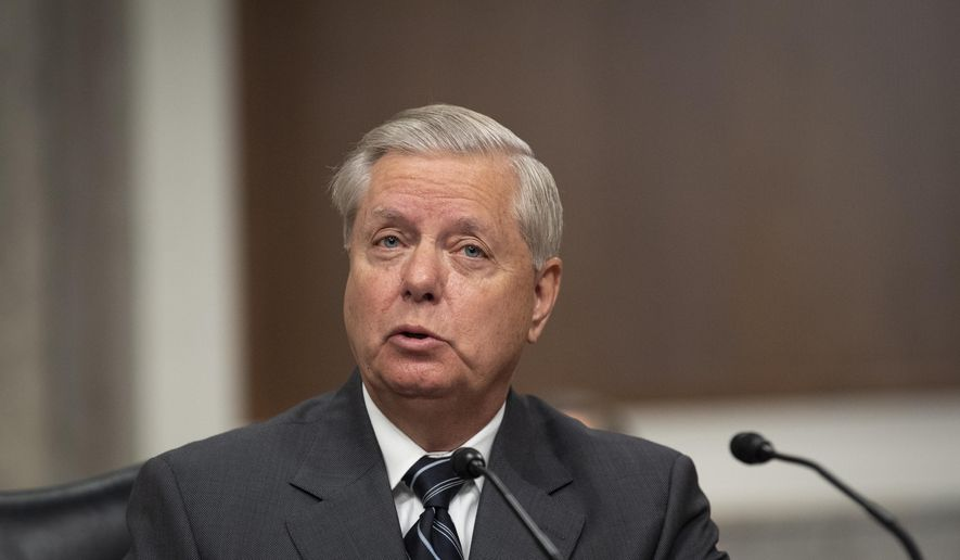 Sen. Lindsey Graham, R-S.C., speaks during a Senate Judiciary Committee Executive Business meeting, including the nomination of Amy Coney Barrett to serve as an associate justice on the Supreme Court of the United States, Thursday, Oct. 22, 2020, on Capitol Hill in Washington. (Caroline Brehman/Pool via AP)