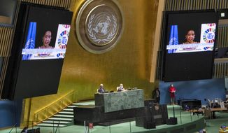 In this photo provided by the United Nations, Phumzile Mlambo-Ngcuka, Executive Director of UN Women, speaks in the U.N. General Assembly Thursday, Oct. 1, 2020, in New York. (Eskinder Debebe/UN Photo via AP)