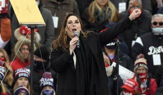 Republican National Committee chairwoman Ronna McDaniel speaks at a campaign rally for President Donald Trump held at Oakland County International Airport, Friday, Oct. 30, 2020, in Waterford Township, Mich. (AP Photo/Jose Juarez) ** FILE **