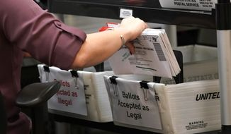 In this Oct. 26, 2020, file photo, an election worker sorts vote-by-mail ballots at the Miami-Dade County Board of Elections, in Doral, Fla. (AP Photo/Lynne Sladky, File)