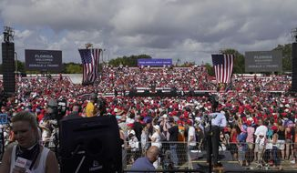 President Donald Trump speaks to the crowd during a campaign rally Thursday, Oct. 29, 2020, in Tampa, Fla. (AP Photo/Chris O'Meara)