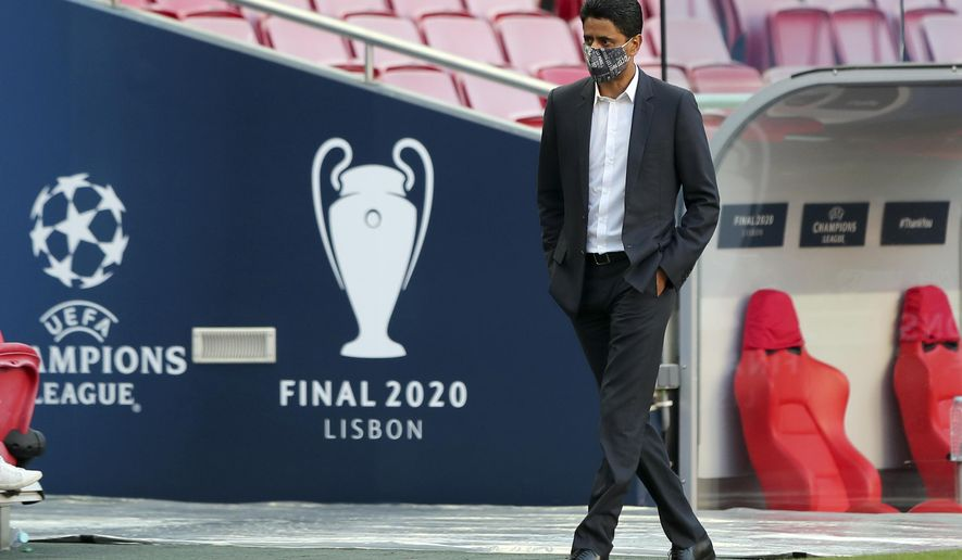 FILE - In this file photo dated Saturday Aug. 22, 2020, PSG president Nasser Al-Khelaifi during a training session at the Luz stadium in Lisbon.  In a verdict handed down Friday Oct. 30, 2020, Swiss federal judges acquitted the Qatari president of Paris Saint-Germain Nasser Al-Khelaifi. (Miguel A. Lopes/Pool via AP, FILE)