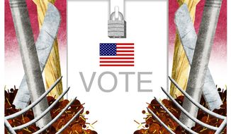 Illustration on the sanctity of U.S. elections by Alexander Hunter/The Washington Times