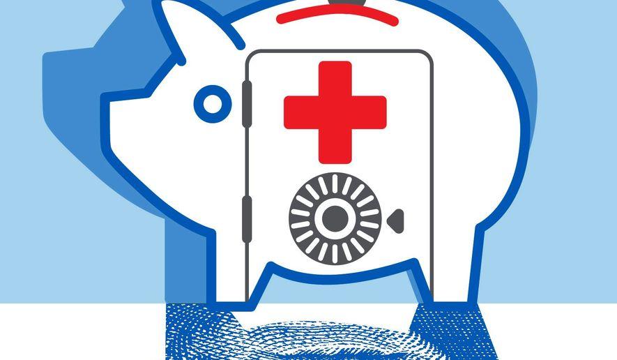 Illustration on health savings accounts by Linas Garsys/The Washington Times