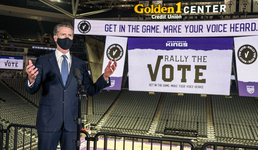 In this Thursday, Oct. 29, 2020, file photo, California Governor Gavin Newsom speaks to reporters after voting under COVID-19 protocols at Golden 1 Center in Sacramento, Calif. (Renee C. Byer/The Sacramento Bee via AP, Pool, File)  **FILE**