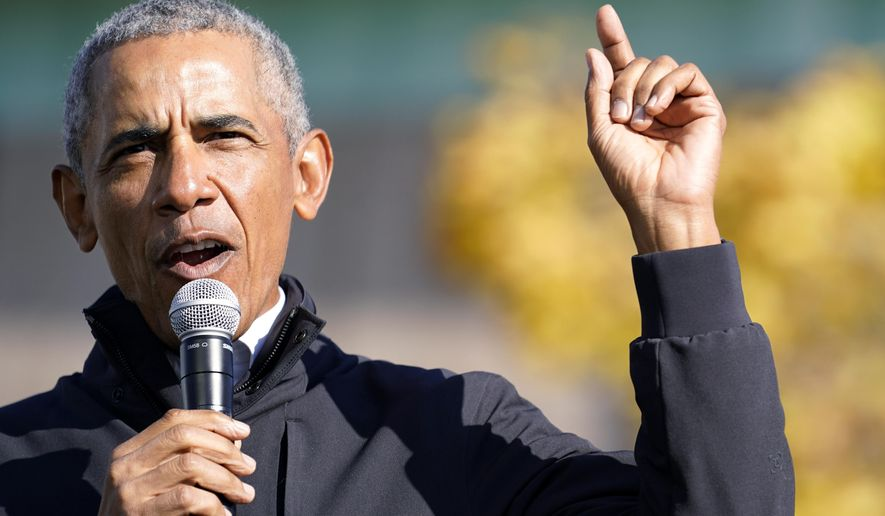 Former President Barack Obama speaks at a rally for Democratic presidential candidate former Vice President Joe Biden, at Northwestern High School in Flint, Mich., Saturday, Oct. 31, 2020. (AP Photo/Andrew Harnik)