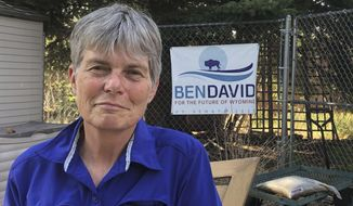 FILE - In this Aug. 10, 2020, file photo, shows Merav Ben-David poses for a photo in Cheyenne, Wyo. Ben-David is seeking to become Wyoming's first Democratic senator in a near-half century. Ben-David and her Republican opponent, Cynthia Lummis, are vying for Wyoming's first open Senate seat in more than two decades and a chance to be the state's first female senator. (AP Photo/Mead Gruver, File)