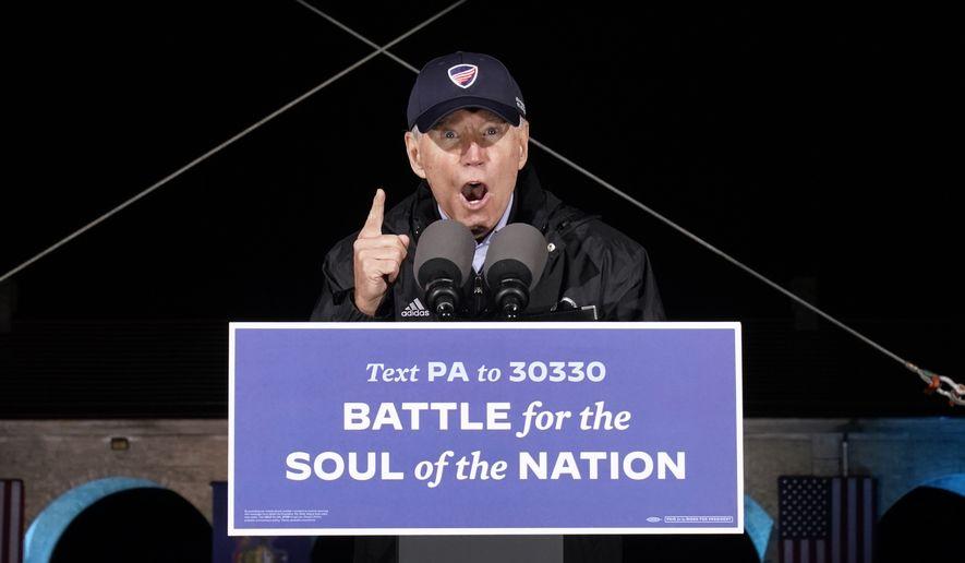 Democratic presidential candidate former Vice President Joe Biden speaks at a rally at Franklin Delano Roosevelt Park, Sunday, Nov. 1, 2020, in Philadelphia. (AP Photo/Andrew Harnik)