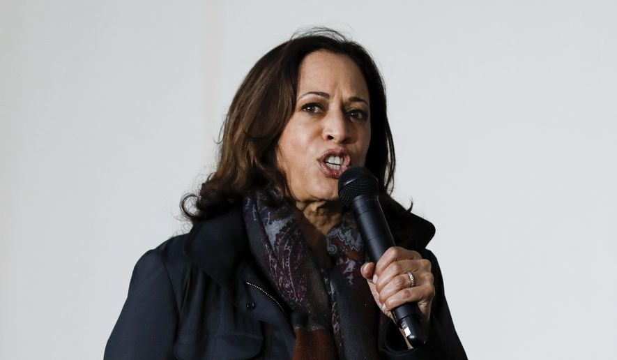 Democratic vice presidential candidate Sen. Kamala Harris, D-Calif., speaks to a crowd during a campaign event in Goldsboro, N.C., Sunday, Nov. 1, 2020. (AP Photo/Ben McKeown)