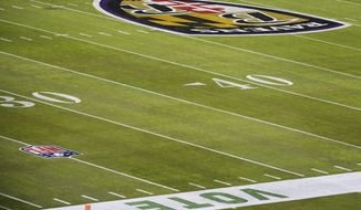 Vote is painted on the sidelines at M&T Bank Stadium before an NFL football game between the Baltimore Ravens and the Pittsburgh Steelers, Sunday, Nov. 1, 2020, in Baltimore. (AP Photo/Terrance Williams)