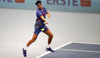 Italy's Lorenzo Sonego returns returns the ball to Andrey Rublev of Russia during their final match at the Erste Bank Open tennis tournament in Vienna, Austria, Sunday, Nov. 1, 2020. (AP Photo/Ronald Zak)