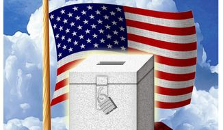 Illustration on the right and privilege of voting by Alexander Hunter/The Washington Times