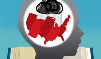 Illustration on American school textbooks by Linas Garsys/The Washington Times