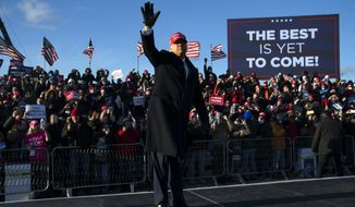 President Donald Trump walks off stage after speaking during a campaign rally at Wilkes-Barre Scranton International Airport, Monday, Nov. 2, 2020, in Avoca, Pa. (AP Photo/Evan Vucci)