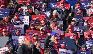 Supporters react to comments by President Donald Trump as he addresses a campaign rally at the Wilkes-Barre Scranton International Airport in Avoca, Pa, Monday, Nov. 2, 2020. (AP Photo/Gene J. Puskar)